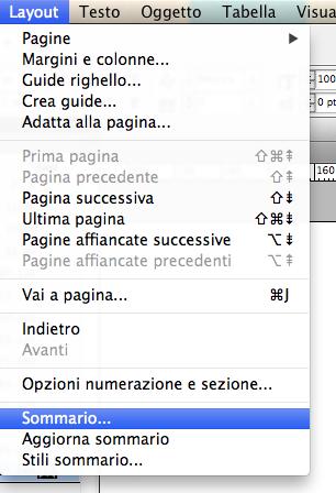 menu indesign, layout - Sommario...